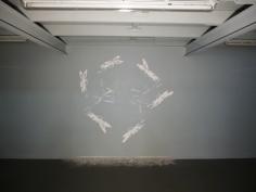 Anne Houel, Kali, dessin gravé sur Placoplatre, réalisation in situ, La Forme, mai 2014
